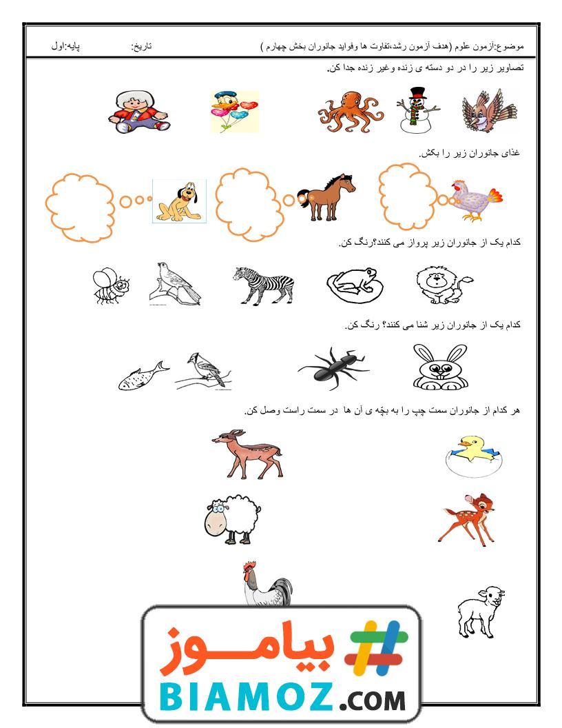تمامی مطالب فصل چهارم دنیای جانوران صفحه 2 از 3 علوم اول دبستان دانلود رایگان بیاموز