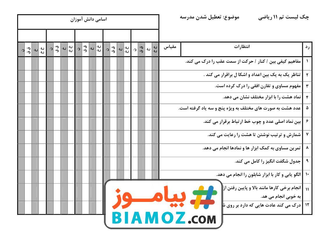 چک لیست تم 11 ریاضی (سری1) — اول دبستان