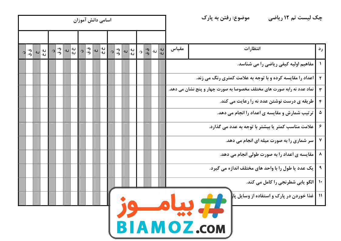 چک لیست تم 12 ریاضی (سری1) — اول دبستان