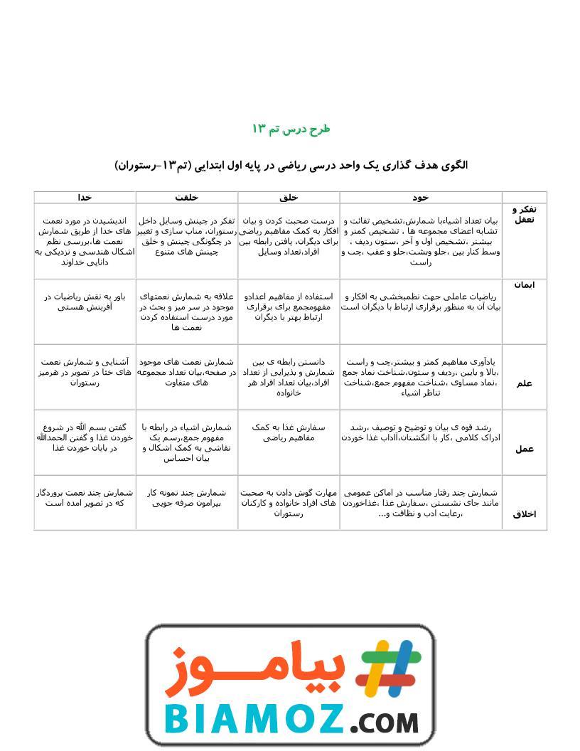 طرح درس تم 13 ریاضی (سری1) — اول دبستان