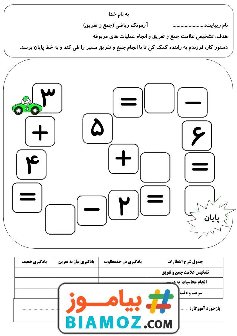 آزمونک جمع و تفریق تم 14 ریاضی (سری1) — اول دبستان