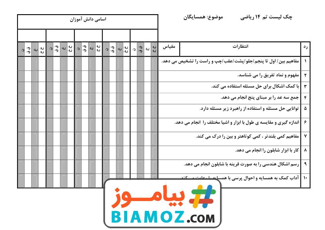 چک لیست تم 14 ریاضی (سری1) — اول دبستان