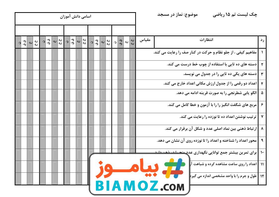 چک لیست تم 15 ریاضی (سری1) — اول دبستان