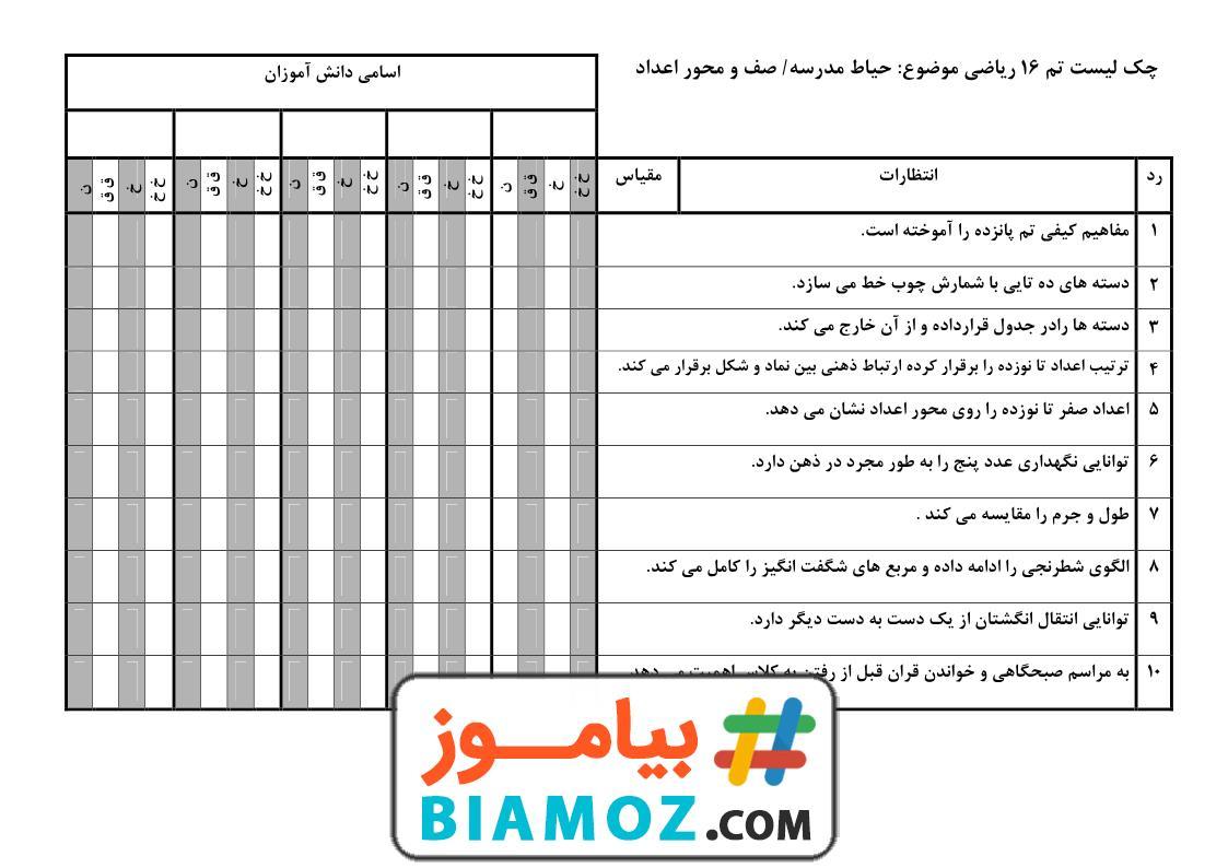 چک لیست تم 16 ریاضی (سری1) — اول دبستان