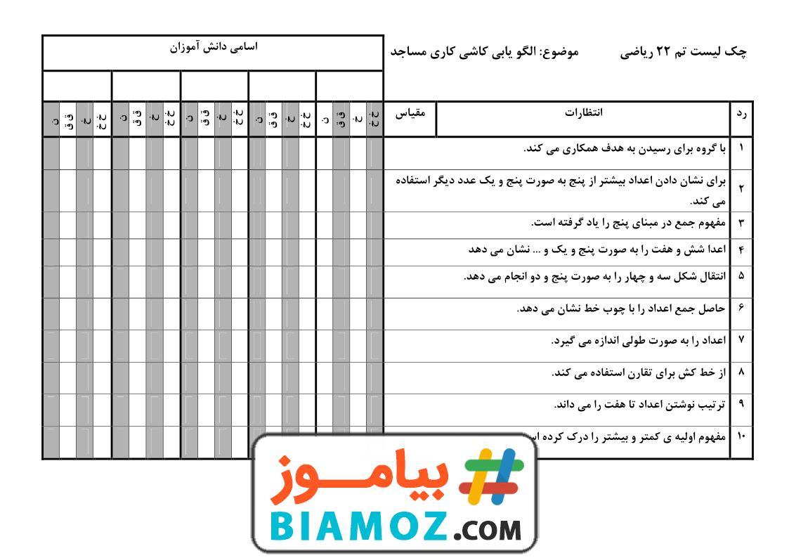چک لیست تم 22 ریاضی (سری1) — اول دبستان