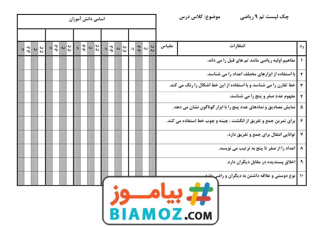 چک لیست تم 9 ریاضی (سری1) — اول دبستان