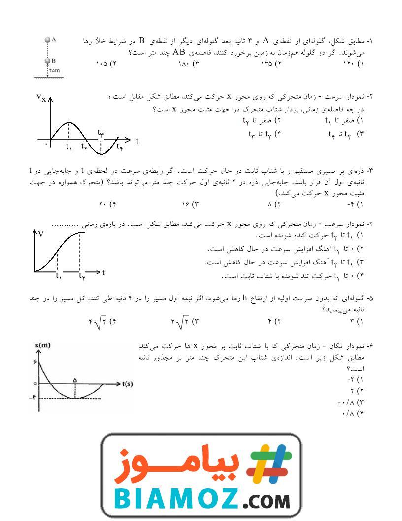 نمونه سوال تستی فصل 1 فیزیک (3) ریاضی فیزیک (سری1) — دوازدهم متوسطه