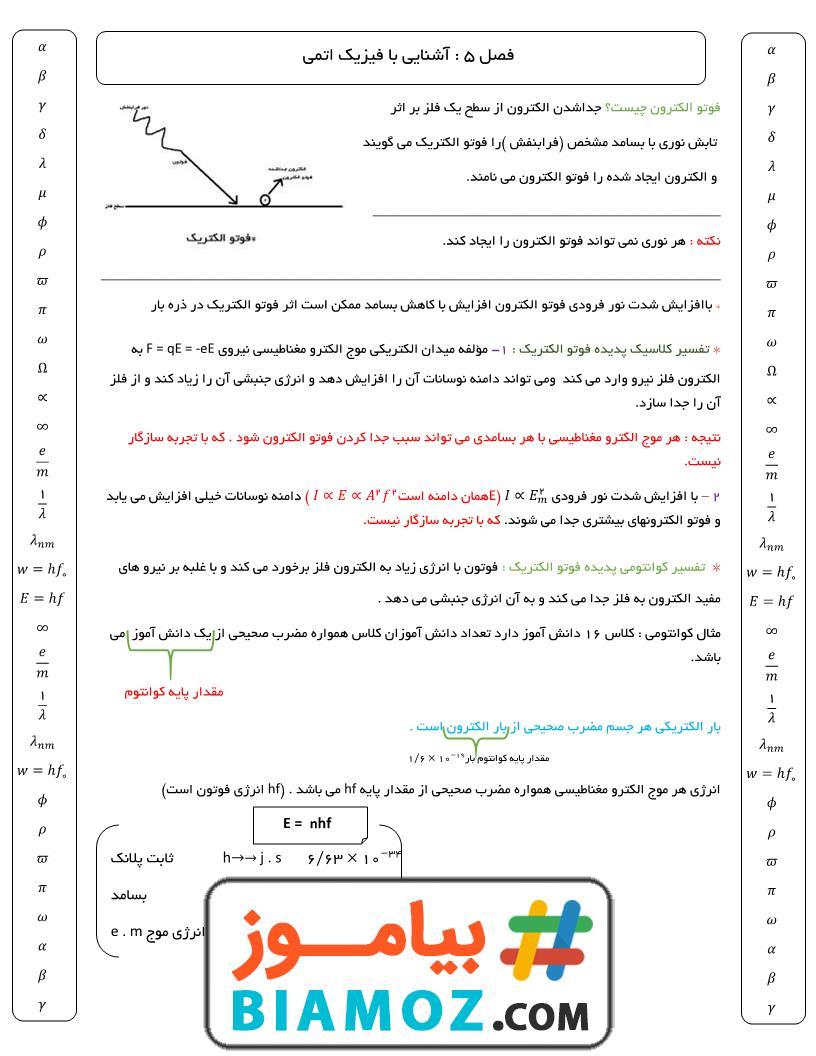 جزوه فصل 5 فیزیک (3) ریاضی فیزیک (سری1) — دوازدهم متوسطه