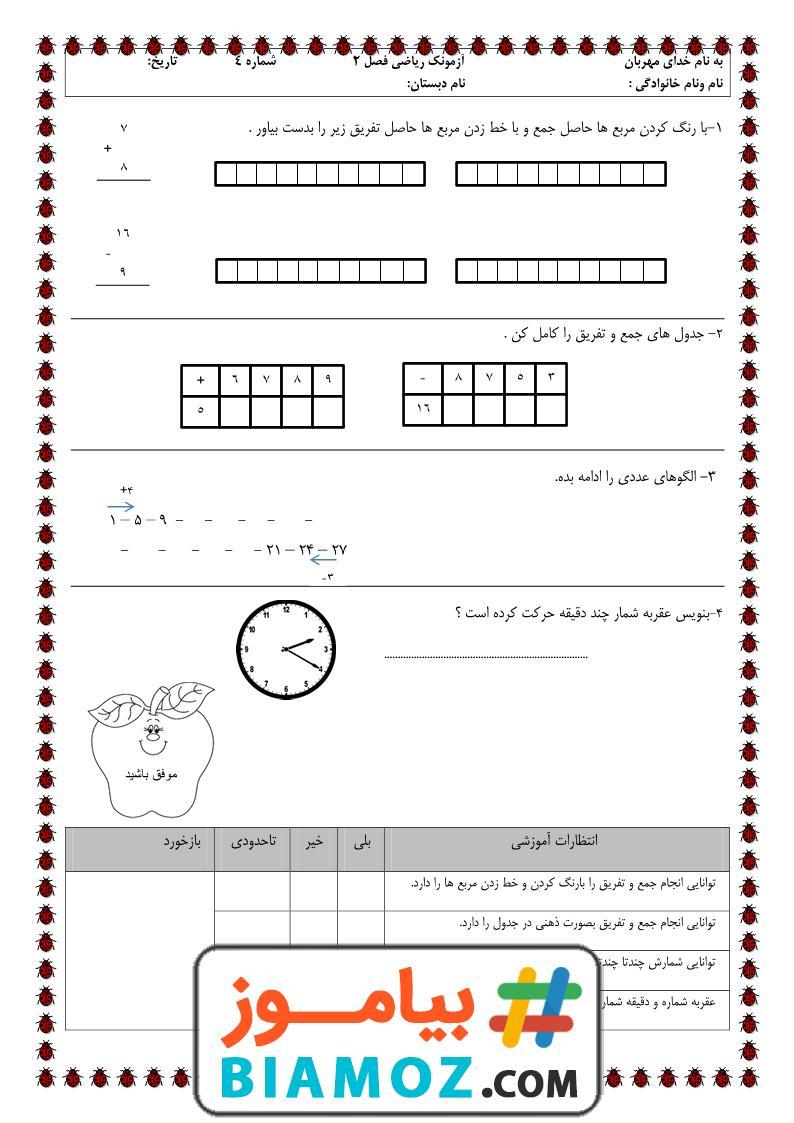 آزمونک فصل 2 جمع و تفریق اعداد دو رقمی ریاضی (سری2) — دوم دبستان