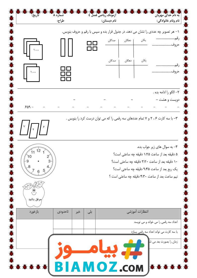 آزمونک فصل 4 عدد های سه رقمی ریاضی (سری4) — دوم دبستان