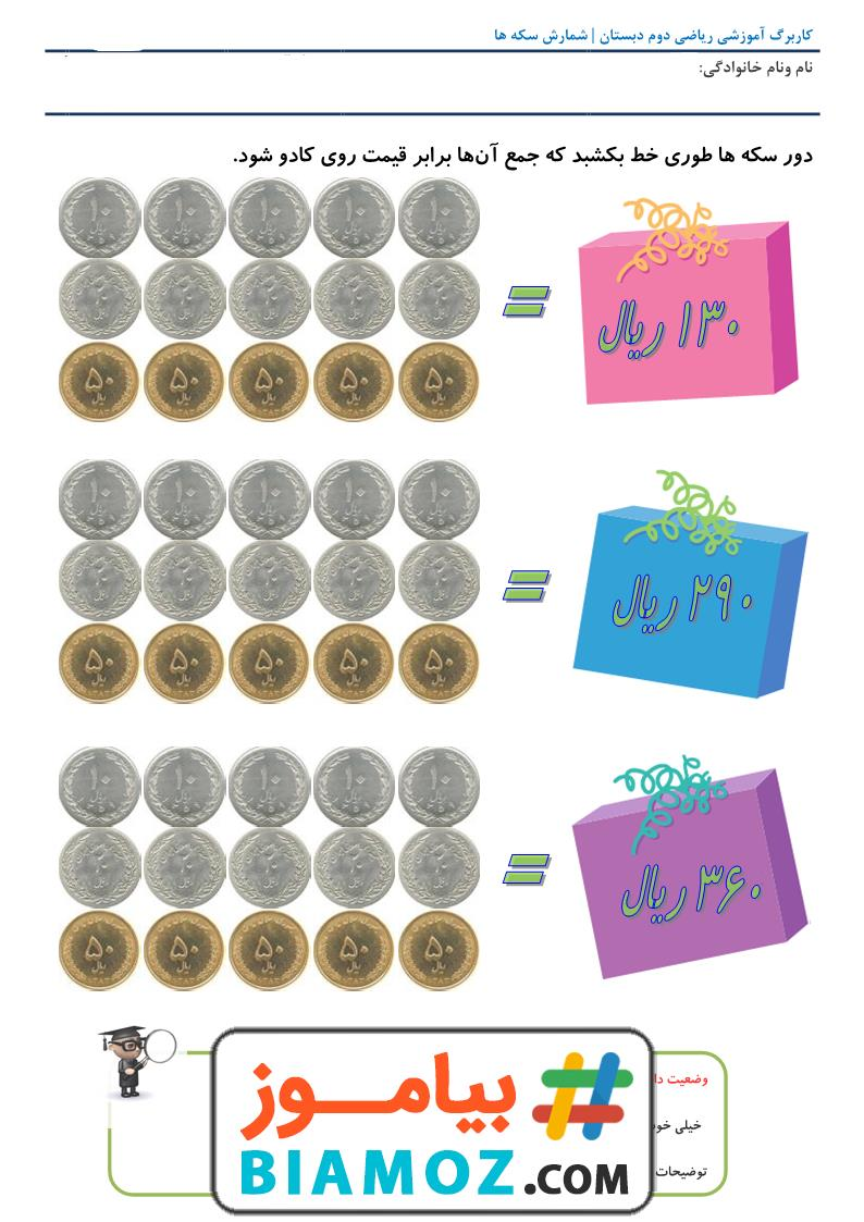 کاربرگ شمارش سکه فصل 4 عددهای سه رقمی ریاضی (سری3) — دوم دبستان