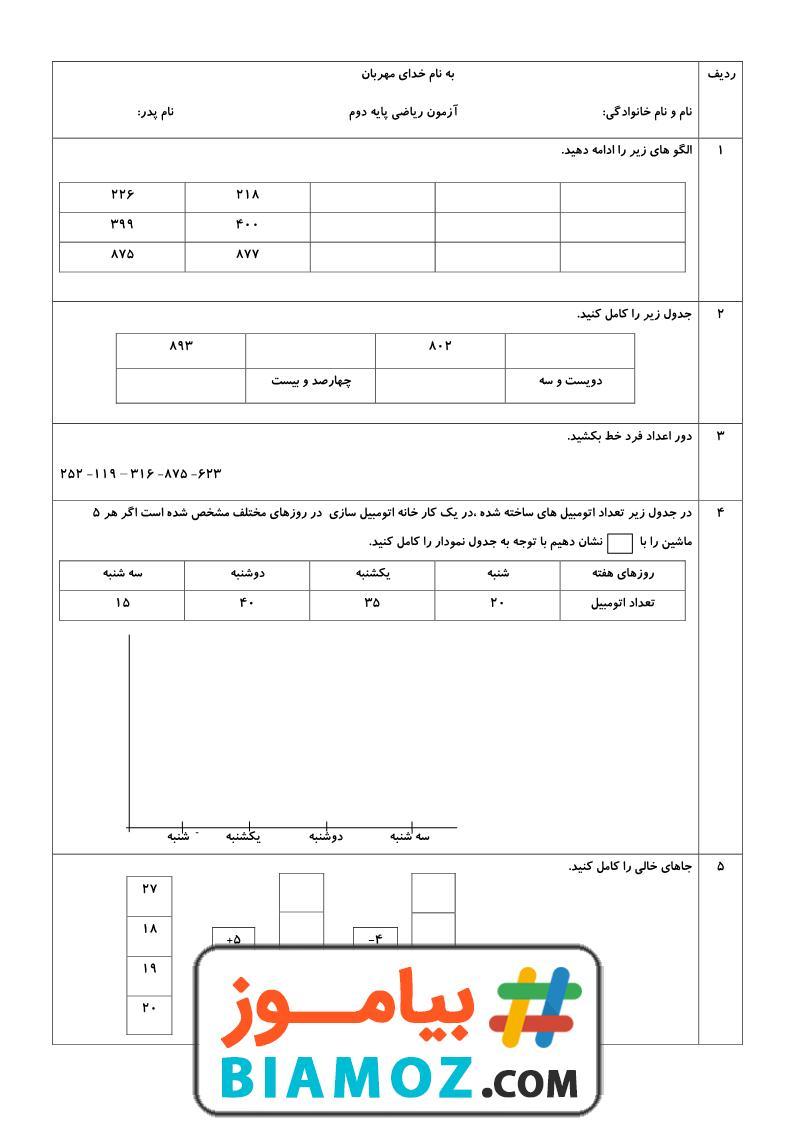 نمونه سوال نوبت دوم ریاضی (سری21) — دوم دبستان