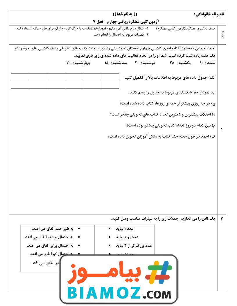 آزمون عملکردی فصل 7 آمار و احتمال ریاضی (سری1) — چهارم دبستان