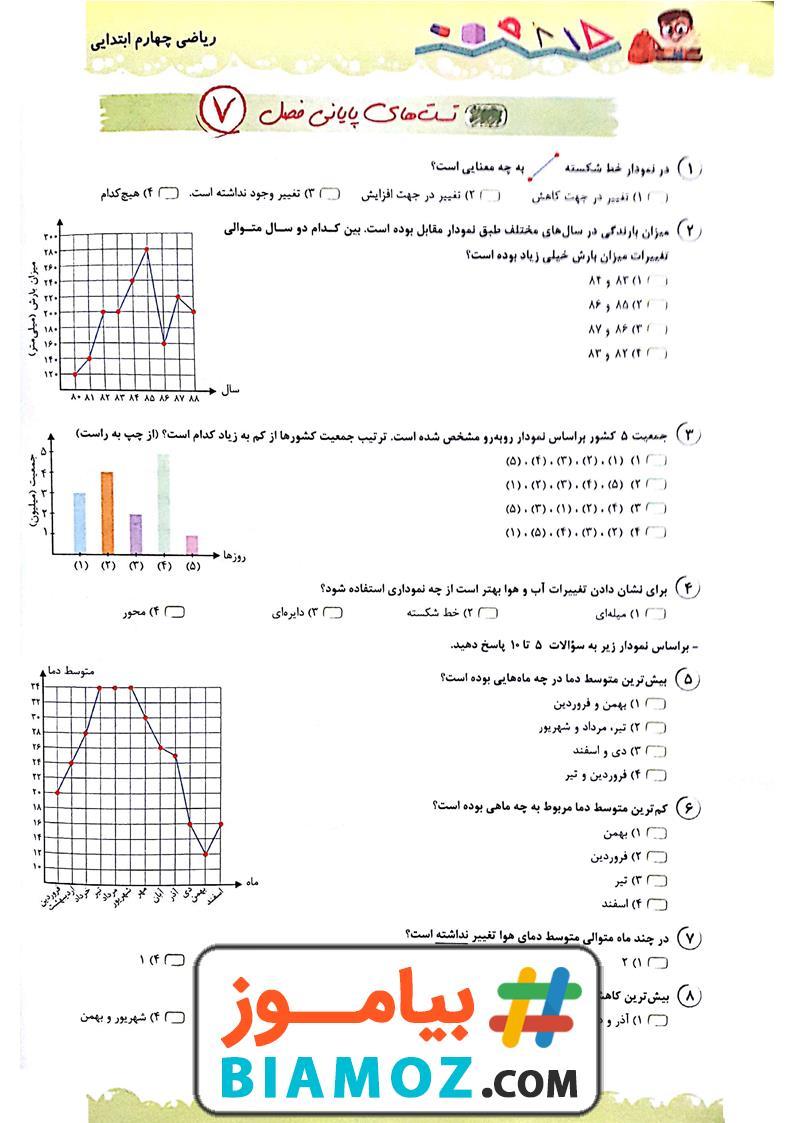 نمونه سوال تستی فصل 7 آمار و احتمال ریاضی با پاسخ (سری1) — چهارم دبستان