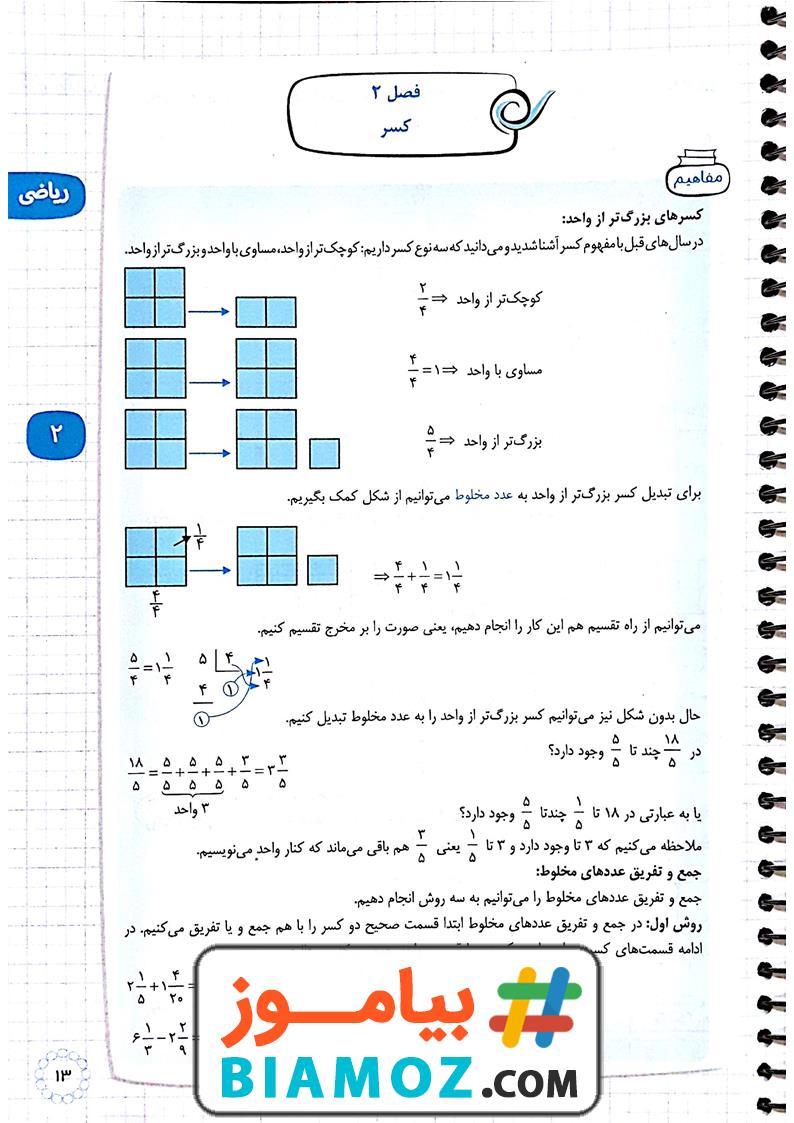 درسنامه فصل 2 کسر ریاضی (سری1) — پنجم دبستان